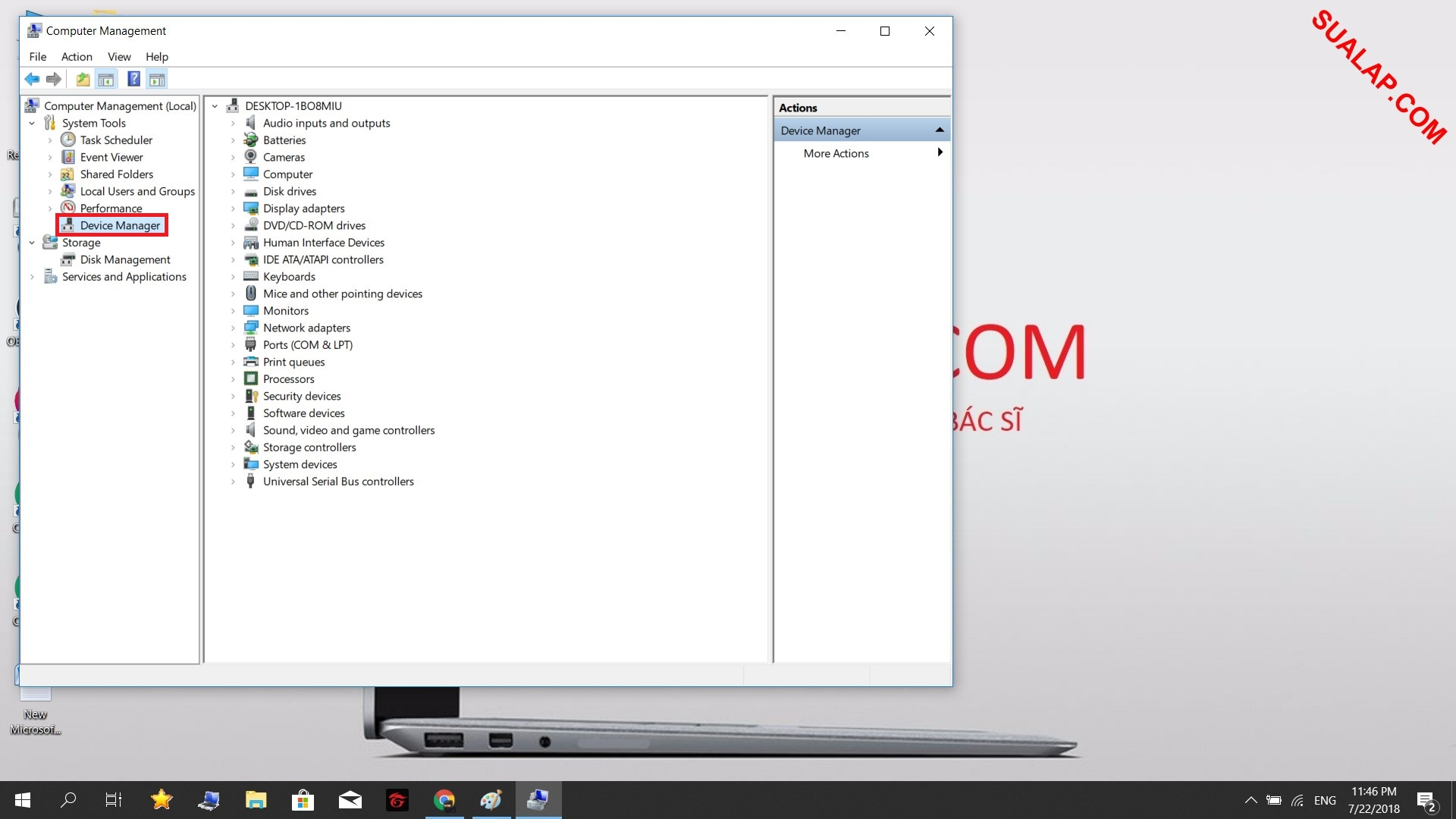 Tiếp tục chọn Device Manager